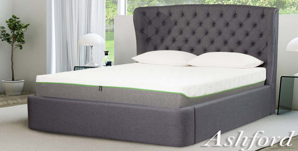 ASHFORD Grey Linen Upholstered Bed Frame with Large Wing Headboard