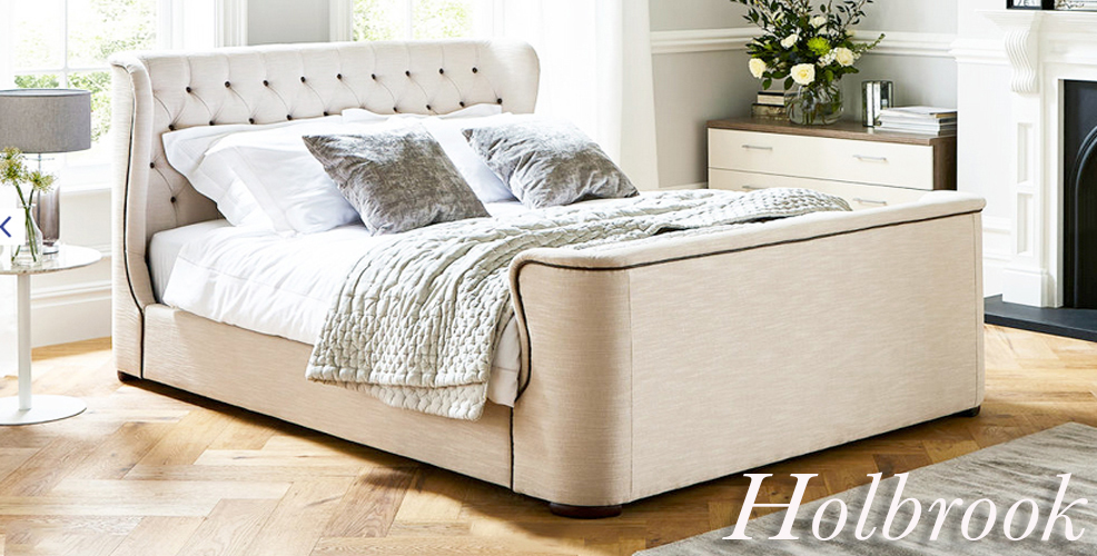 HOLBROOK QUEEN Natural White Linen Like Upholstered Bed Frame with Large Wing Headboard