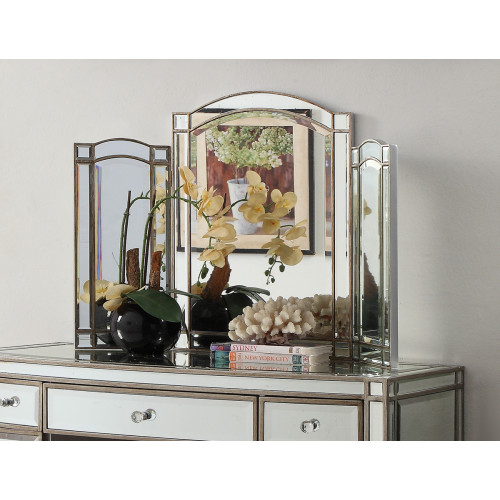 Rochelle Mirror Tri Fold Mirror Antique Silver Wood Frame