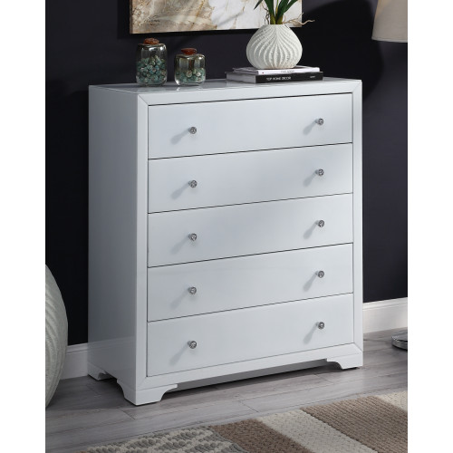 Boulevard WHITE Glass Tallboy 5 drawers