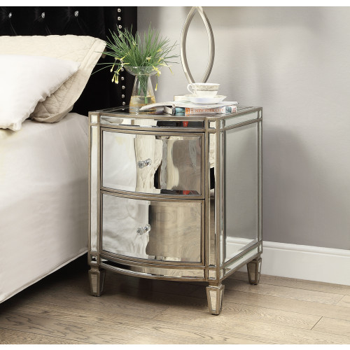 Rochelle Mirror Bedside Table 2 Drawers Antique Brushed