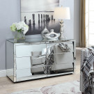 HOLLYWOOD Silver Mirror Low Chest 6 Drawers