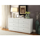 BOULEVARD WHITE GLASS Low Chest 6 Drawers