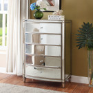 ROCHELLE Mirror 5 Drawer Tallboy - Antique Silver Frame
