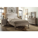 CHALLIS King European White Ash & Upholstered Bed - LOW FOOT END