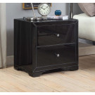Boulevard Black Glass Bedside Table