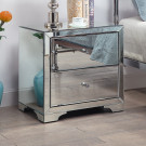 Boulevard Silver Mirror Bedside Table