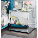 HOLLYWOOD Silver Mirror BEDSIDE TABLE 3 Drawers