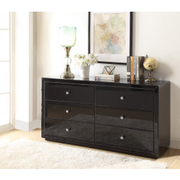 BOULEVARD BLACK GLASS Low Chest 6 Drawers