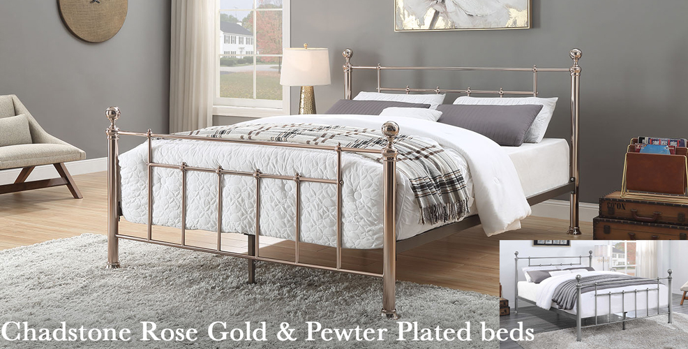 Chadstone Rose Gold and Pewter Plated beds