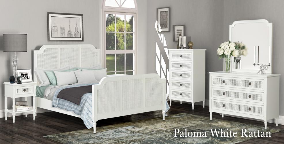 Paloma White Rattan Bedroom Suite