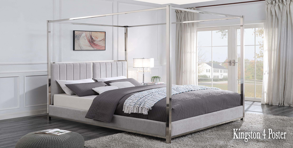 KINGSTON 4 poster bed with grey upholstered headboard