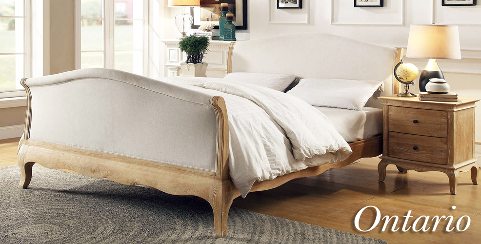 ONTARIO Solid Oak Bed In Lime Wire Brushed Weathered Finish