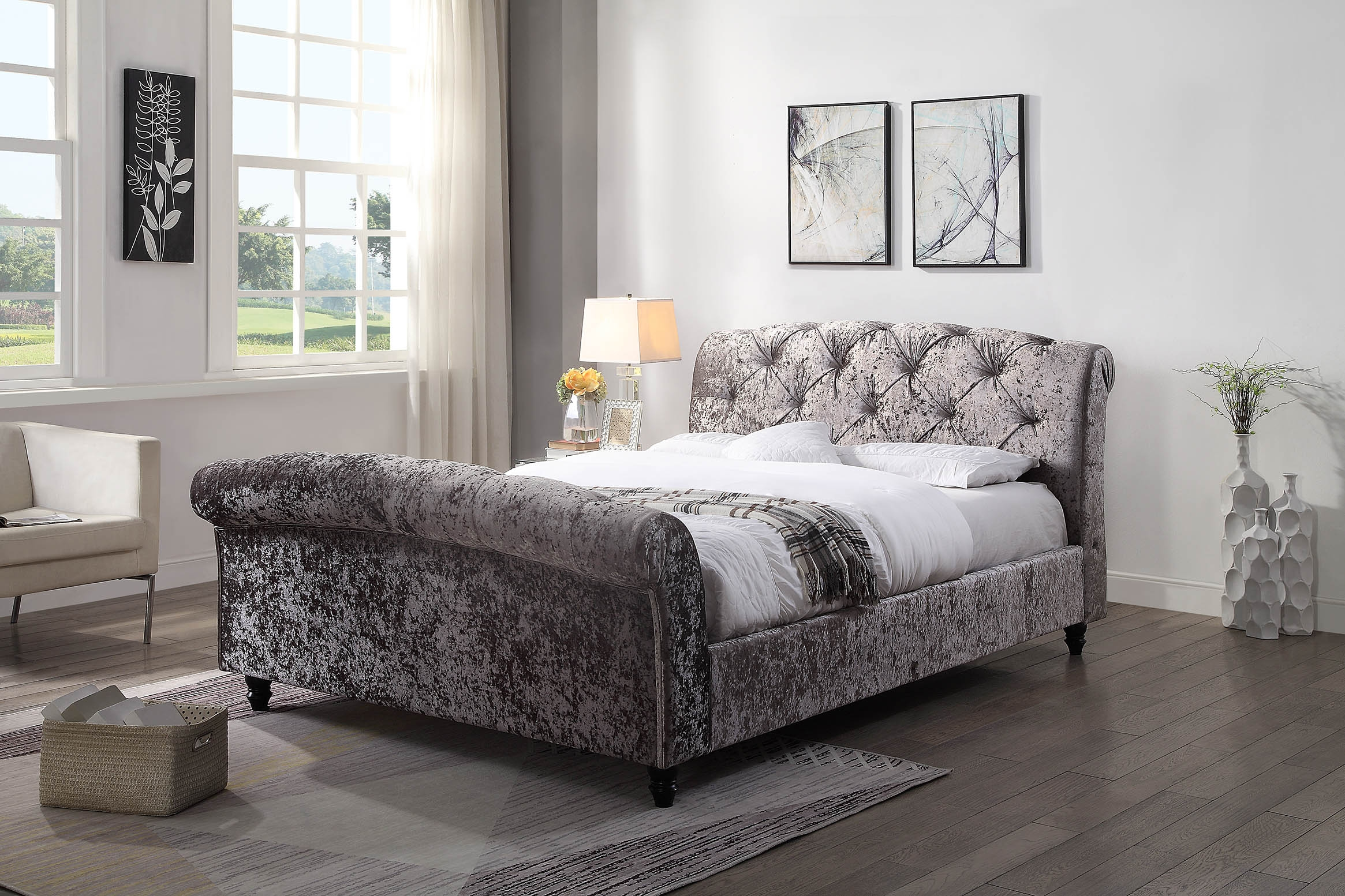 Balmoral Queen Upholstered Sleigh Bed Opulent Glitz Pewter Silver Fabric