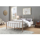 CHADSTONE King Bed Rose Gold Plated with Round Metal Finials