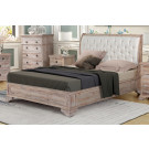 IBIZA QUEEN Bed Low foot end Upholstered Headboard - Acacia Wood