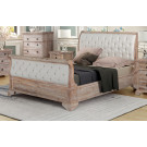 IBIZA QUEEN Sleigh Bed Upholstered head and foot-board - Acacia Wood