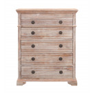 IBIZA 5 Drawer Tallboy with Jewellery compartment and vanity mirror - Acacia Wood