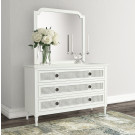 """PALOMA Low Chest/Dresser French Style White """"Distressed"""" Finish with Rattan"""