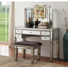ROCHELLE Mirror Dressing Table 5 Drawers - Antique Silver Frame