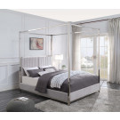 KINGSTON Queen 4 Poster Upholstered Bed Chrome Plated Bed Posts