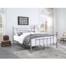 CHADSTONE Queen Bed Pewter Plated with Round Metal Finials