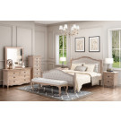 FABIAN Queen European White Ash & Upholstered Bed