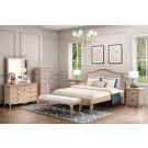 FABIAN Queen European White Ash & Upholstered Bed LOW FOOT END