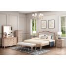 FABIAN King European White Ash & Upholstered Bed