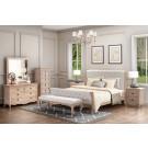 FLEUR Queen European White Oak & Upholstered Bed HMF
