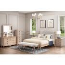 FLEUR King European White Oak & Upholstered Bed LOW FOOT END