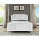 """PALOMA King Bed French style White """"Distressed"""" Finish with Rattan"""
