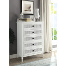 """PALOMA Tallboy French style White """"Distressed"""" Finish with Rattan"""