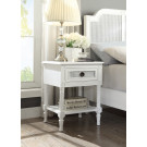 """PALOMA Bedside Table French style White """"Distressed"""" Finish with Rattan"""