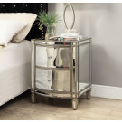 ROCHELLE Mirror Bedside Table - Antique Silver Frame