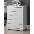 VENICE White Glass Mirror Tallboy 5 Drawer