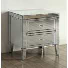 MAISON Silver Mirror 2 Drawer Bedside Table