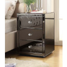 VENICE Smoke Mirrored 3 Drawer Bedside Table