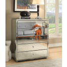 VENICE Silver Mirror Tallboy 5 Drawer