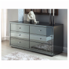 VENICE Smoke Mirror Dressing Table or Low Chest 6 Drawers