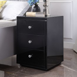 VENICE Black Glass Mirrored 3 Drawer Bedside Table