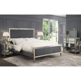 Rochelle Mirrored King Bed Frame - Storm Grey Fabric