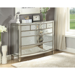 ROCHELLE Mirror Wide Chest 8 Drawers - Antique Silver Frame