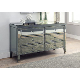 MAISON Smoke Mirror 6 Drawer Low Chest/Dressing Table