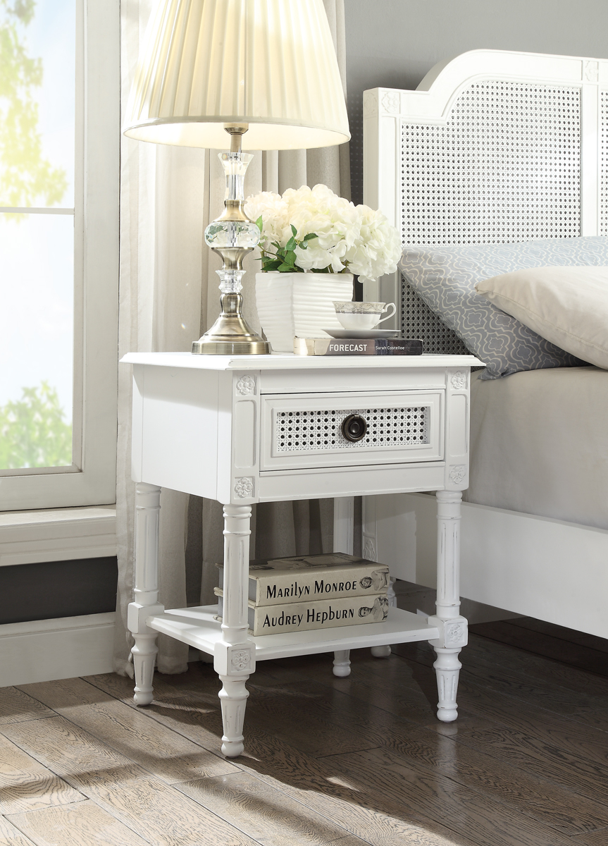 Paloma Bedside Table French Style White Distressed Finish With Rattan