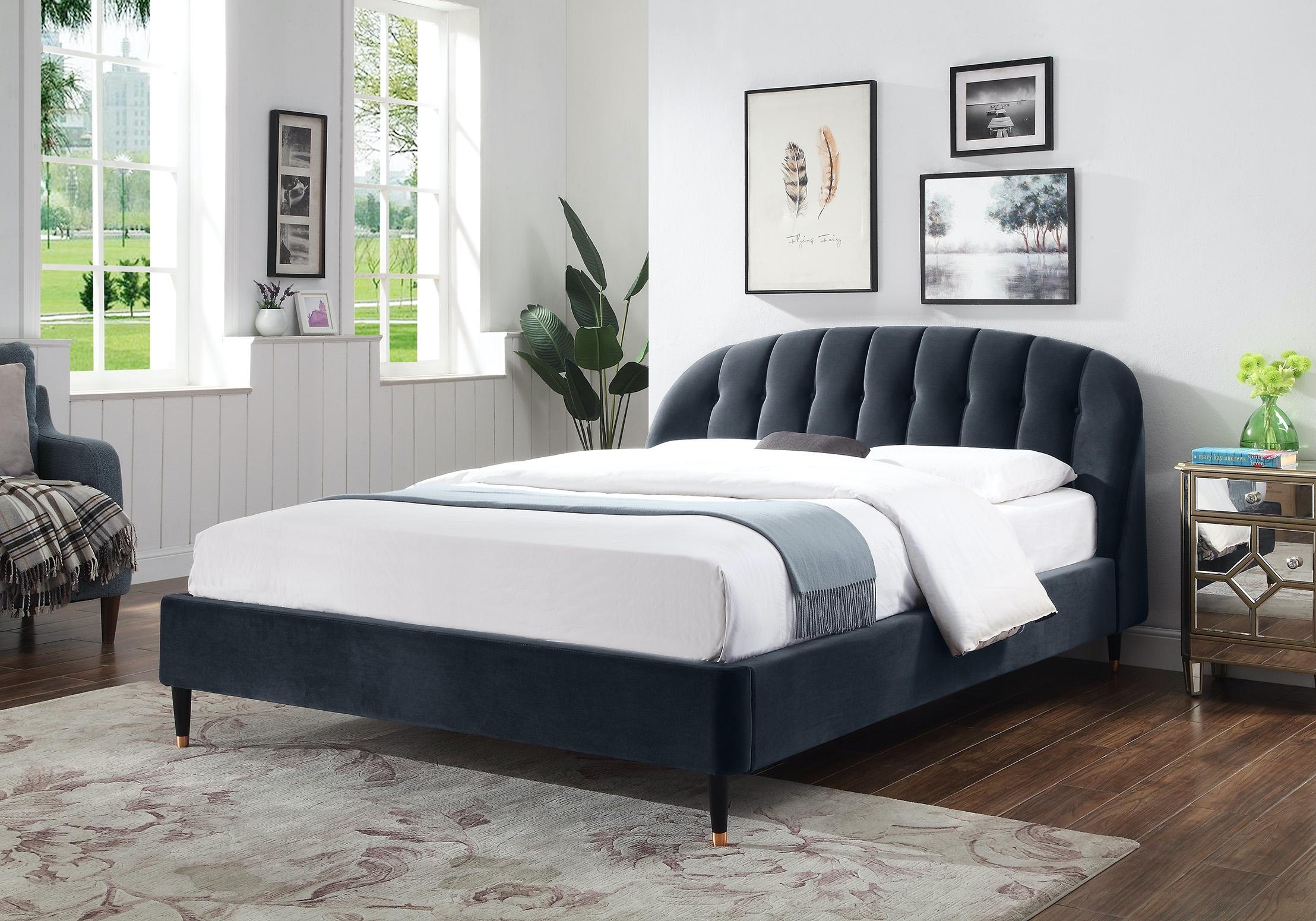 Monroe Queen Upholstered Bed Midnight Grey Velvet
